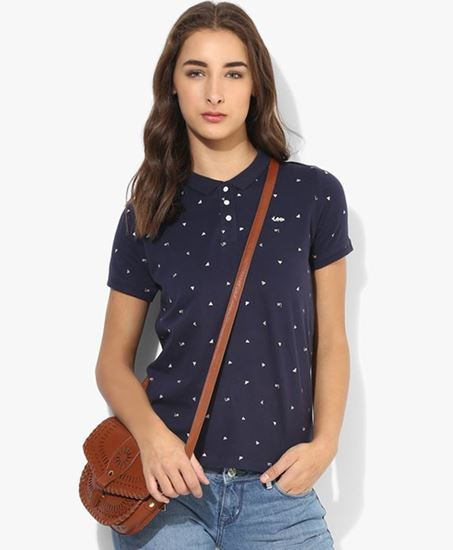 Picture of Navy Blue Printed T Shirt